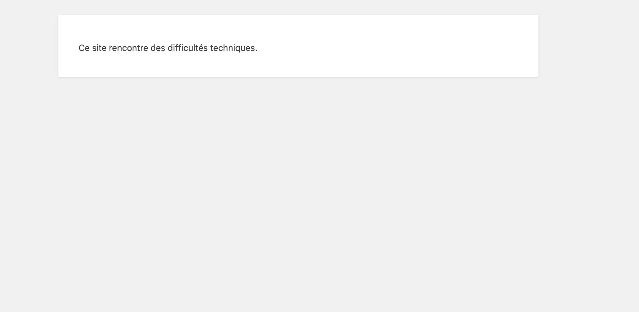 Ce site rencontre des difficultés techniques - WPFR